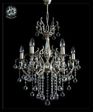 CRYSTAL CHANDELIER 6 LIGHTS IN GOLD or SILVER (Real crystals)