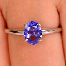 1.50 Carat 925 Sterling Silver Oval Cut Natural Blue Tanzanite Engagement Ring