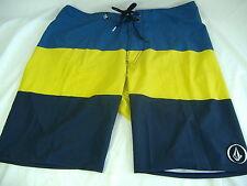 New Mens 30 VOLCOM 4 Way Stretch Board Shorts Yellow Navy Stripe $55