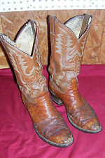 Old Junk Justin Ostrich Skin Cowboy Western Boots Mens Maybe Size 9 Cognac Brown