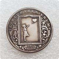 Hobo Nickel Bansky Art Girl and Heart Balloon Window Morgan Dollar Nickle Coin