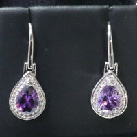 Sparkling Purple Pear Amethyst Earring Drop Women Jewelry 14K White Gold Plated