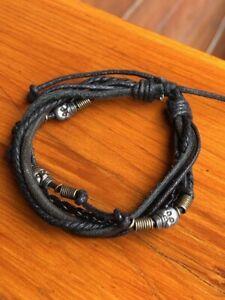 Handmade Leather Skull Cord Bracelet Men Women Black Slip Knot Brass Beads