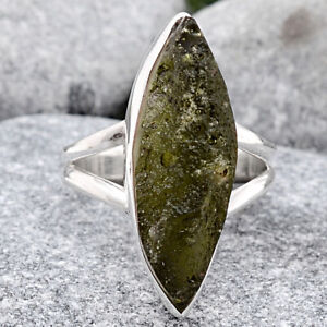 Natural Genuine Czech Moldavite 925 Sterling Silver Ring s.6.5 Jewelry 1000