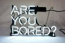 "Are You Bored White Neon Light Sign Lamp Acrylic 14"" Glass Bedroom Beer Decor"