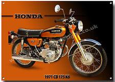 HONDA CB 175 K6 MOTORCYCLE METAL SIGN.1970'S VINTAGE HONDA MOTORCYCLES.(A3 SIZE)
