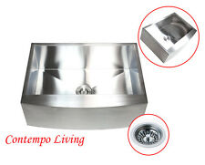 """30"""" Stainless Steel Farm Apron Kitchen sink Curve FRONT"""