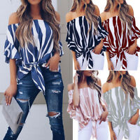 Women Striped Off Shoulder Waist Tie Blouse Short Sleeve Casual T Shirts Tops CO