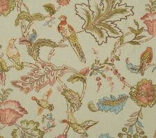 "MULBERRY CURTAIN FABRIC DESIGN ""Early Birds"" 1.7 METRES NATURAL 100% LINEN"