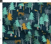 Moonlight Winter Camping Woodland Nature Outdoors Spoonflower Fabric by the Yard