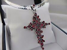 Wow! 31g sterling silver 925 full HM choker collar garnet cross pendant necklace