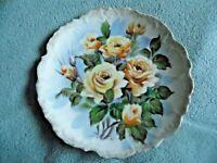 "Vintage Yellow Rose Porcelain Plate HandPainted by T. KitaSilverTrim Japan 8.5"""