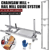 "14""-36"" Chain Saw Mill Log Planking Lumber Cutting Bar & Rail Mill Guide Systems"