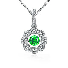 925 Sterling Silver Flower Shape Round CZ Dancing Necklace Green Emerald Pendant