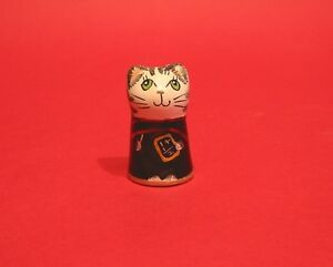 Teacher Cat Hand Painted Pottery Cat Thimble Gift Collectible Thimble CLEARANCE