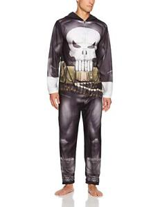 Punisher Mens Muscle Graphic Hooded Non-Footed Union Suit Zipper Pajamas Costume