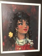 "Vintage 50's Original ""Spanish Girl"" Oul PAINTING Mid Century Artwork"