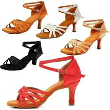 Womens Ladies Girl Brand New Ballroom Latin Tango Dance Shoes Woven Heeled Salsa