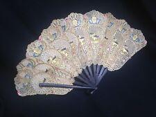 Ventilador De Mano Antiguo Indonesia Bali Java perforado Piel De Búfalo ocultar Tallado Cuerno 19 C
