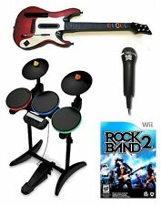 Nintendo Wii-U/Wii ROCK BAND 2 Wireless Guitar & Drums Game Mic Bundle Set Kit