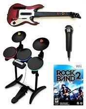 Nintendo Wii-U/Wii ROCK BAND 2 Wireless Guitar & Drums Game Mic Bundle Set Kit