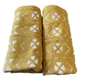 """African  Mustard & White Mud Cloth Textile Mali 66"""" by 43"""""""