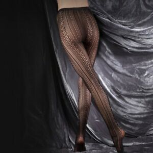 COUTURE ULTIMATES Stunning Black Lace Tights vertical lines  Hosiery S M L XL