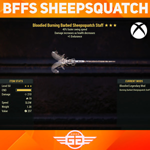 Bloodied Burning Barbed Sheepsquatch Staff - FSS - Fallout76 [XBOX]