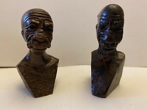 2 Carved Wooden Heads/ Busts