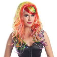 Rainbow Wig Adult Glow-in-the-Dark Rave or Halloween Costume Fancy Dress