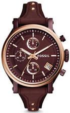 FOSSIL Rose Gold Tone Boyfriend Burgundy Dial Ladies Chronograph Watch ES4114