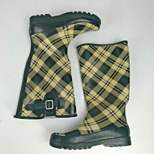 Sperry Top Sider Tall Black Rubber Waterproof Rain Boots Womens Size 6 F11-CH373