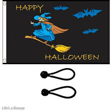 Halloween Witch Flag 5x3ft Great On  Telescopic Poles.Comes with Free Ball Ties