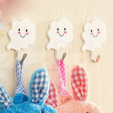 6X White Cloud Self Adhesive Sticky Stick On Hooks Kitchen Bathroom Towel Hanger