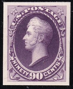 US STAMP #218P4 1888 90c Perry  PLATE PROOF ON CARD MNH  FRESH~ SUPERB
