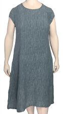 GRIZAS Dusty Blue Silk Linen Dress XXXL Cut Small so XL US 14 - 18 NWT Orig $272