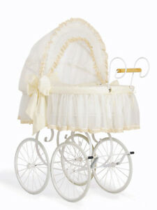 New Luxury Retro Vintage My Sweet Baby White Cream Wicker Crib - baby cot crib