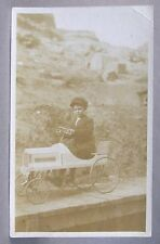 c.1910 CHILD IN PEDAL CAR real photo postcard RPPC