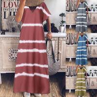 Women Summer Long Shirt Dress Loose V Neck Full Length Shirt Dress Maxi Dress