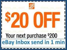 ONE 1x Home Depot Coupon $20 OFF $200 In-Store-Only-lNSTANT DELIVERY-NOW !