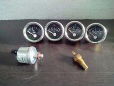 With Oil temp Sender 52mm Electrical Oil Pressure  Temp  Volt  Fuel Gauge-BLK