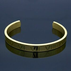 1pc Roman Numerals Cuff Bracelets Titanium Stainless Bangle Bracelet Men's Fashi