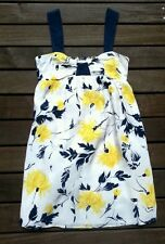 Anthropologie Yumi Kim yellow navy blue white silk pocket dress cami XS