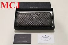 'Authentic' Prada Milano Dal1913 1m1183 Long Studded Wallet Nero