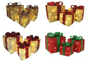 3 Piece LED Light Up Christmas Presents Parcel Gift Set Battery Operated