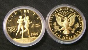 1984-W US Mint ~ LOS ANGELES OLYMPICS ~ $10 W-MINT GOLD IN CAPSULE