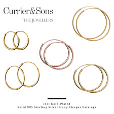 14ct Gold-Plated 925 Sterling Silver Hoop Sleeper Earrings (Pairs)