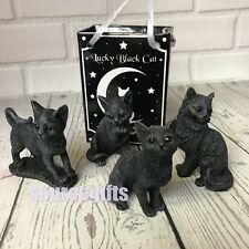 More details for new cat figures - set of 4 small 6cm lucky black cat  figurines great gift