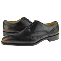 Carrucci Wingtip Oxford, Full Brogue Men's Dress Leather Shoes, Brown
