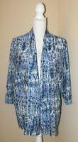 KASPER Blue White Striped 3/4 Sleeve Lightweight Open Cardigan Size XL